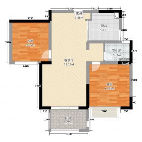 世茂东都・天城2室2厅1卫1厨80.00㎡户型图