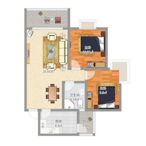 上轩2室1厅1卫1厨81.00㎡户型图