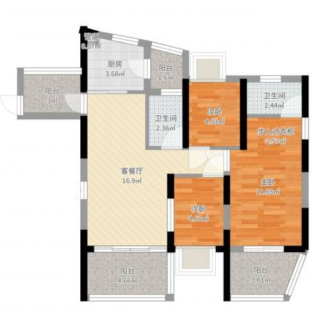 金地梅陇镇二期3室2厅2卫1厨74.00㎡户型图