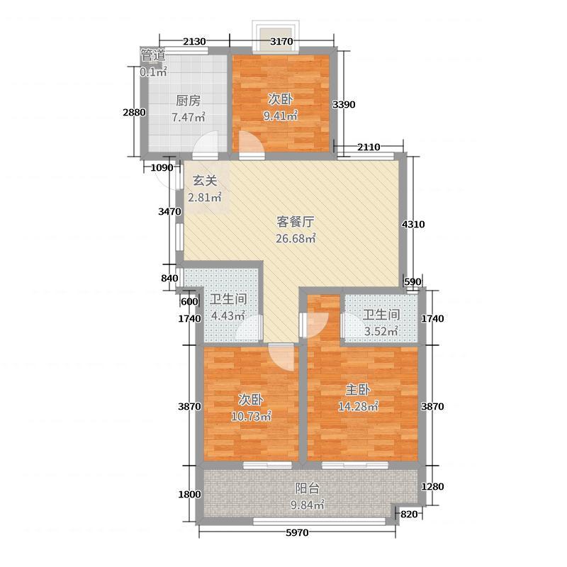 御景城108.66㎡二期M户型3室3厅2卫1厨