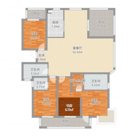 泰恒华府3室2厅3卫1厨177.00㎡户型图