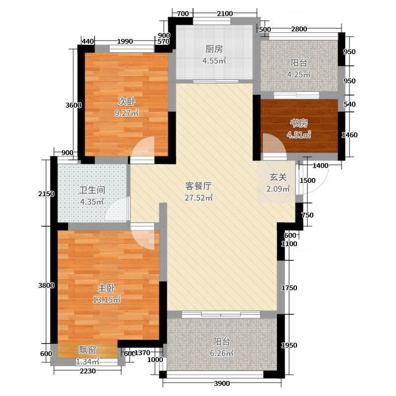中建长清湖104.28㎡51-53#楼、59#楼D1户型3室3厅1卫1厨