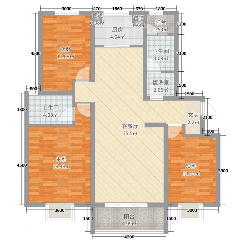 泰林・黄河馨苑137.00㎡C-106户型3室3厅2卫1厨