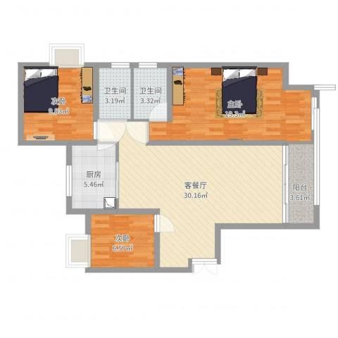 瑞府3室2厅2卫1厨102.00㎡户型图