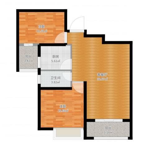 苏州首开常青藤2室2厅1卫1厨95.00㎡户型图