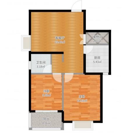 上域(逸庭苑)2室2厅1卫1厨78.00㎡户型图