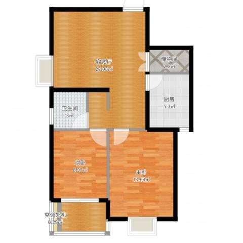 上域(逸庭苑)2室2厅1卫1厨75.00㎡户型图