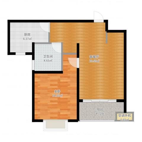 上域(逸庭苑)1室2厅1卫1厨70.00㎡户型图
