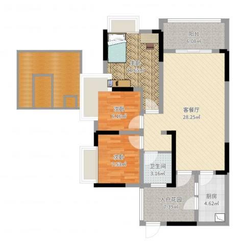 玮益上城华府3室2厅1卫1厨108.00㎡户型图