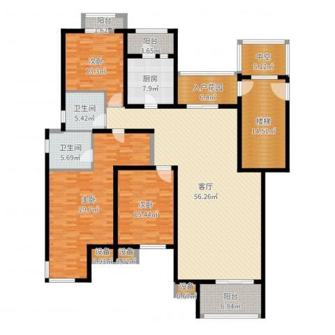鑫苑都市家园3室1厅2卫1厨218.00㎡户型图