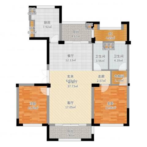 太湖锦园2室2厅2卫1厨119.00㎡户型图