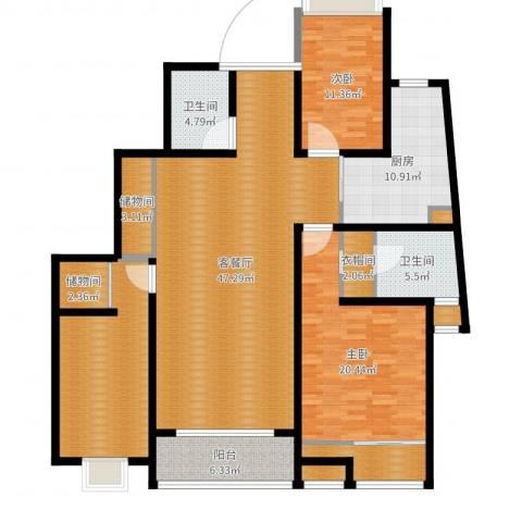 高新花园二期2室2厅2卫1厨168.00㎡户型图