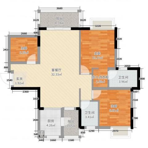 富盈公馆3室2厅2卫1厨100.00㎡户型图
