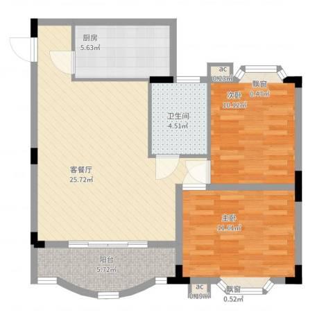 雅翠花园2室2厅1卫1厨90.00㎡户型图