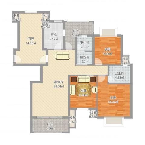 威尼斯水城别墅3室2厅2卫1厨127.00㎡户型图