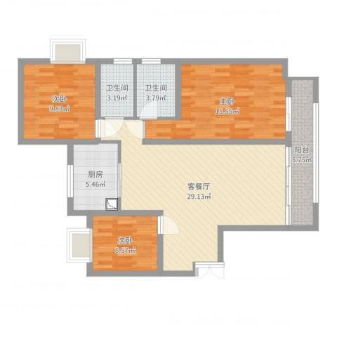 瑞府3室2厅2卫1厨99.00㎡户型图