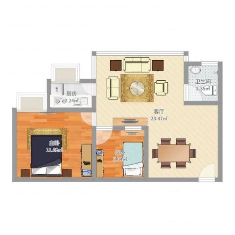 玉华花园2室1厅1卫1厨55.00㎡户型图