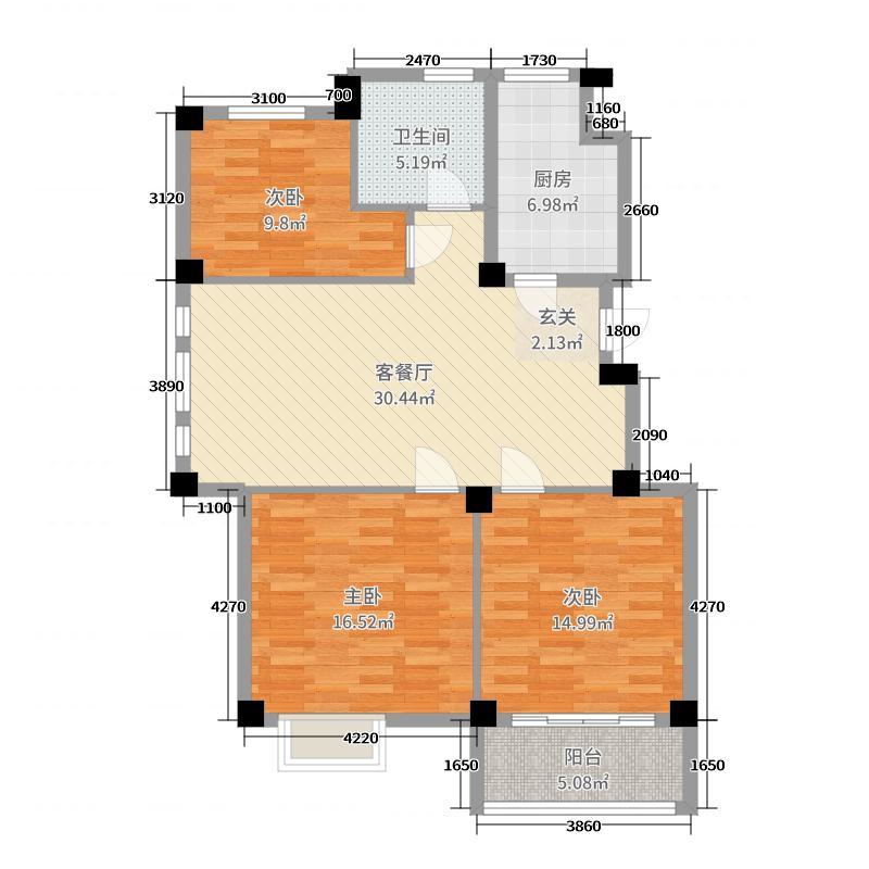 东湖茗居112.68㎡单页11-14#户型3室3厅1卫1厨