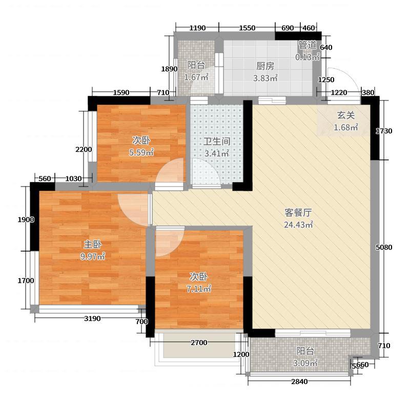 蓝光圣菲悦城79.00㎡1期1批次2-11栋标准层B1户型3室3厅1卫1厨
