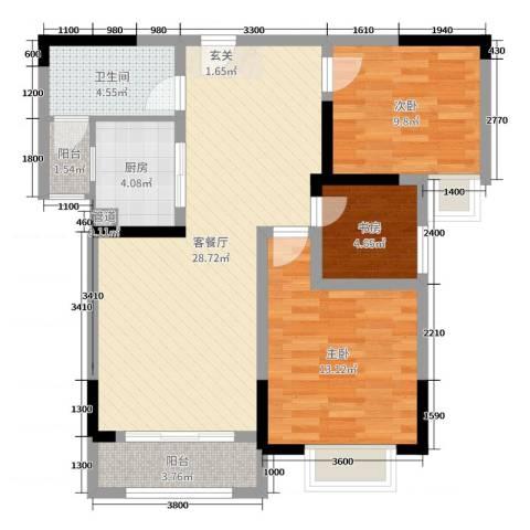 御天城-蟠龙居南区(A)3室2厅1卫1厨93.00㎡户型图