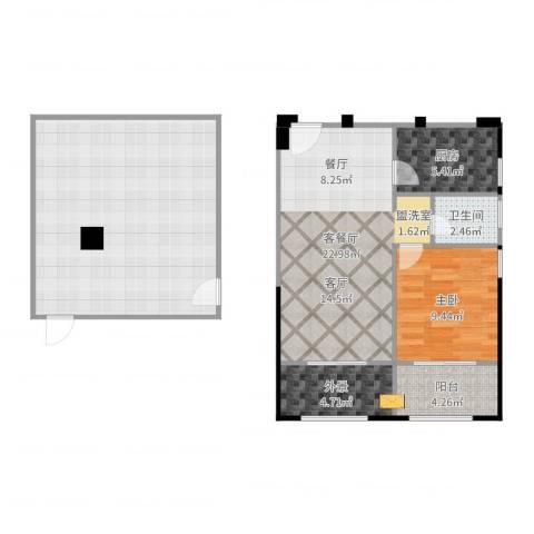 中誉南岸公馆1室2厅1卫1厨98.00㎡户型图