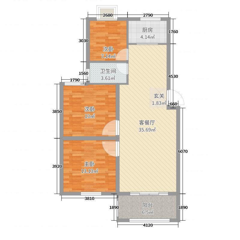 华泰景城104.00㎡二期13#、15#D2户型3室3厅1卫1厨