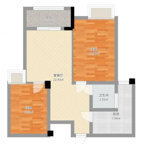 泽胜中央广场2室2厅1卫1厨76.00㎡户型图