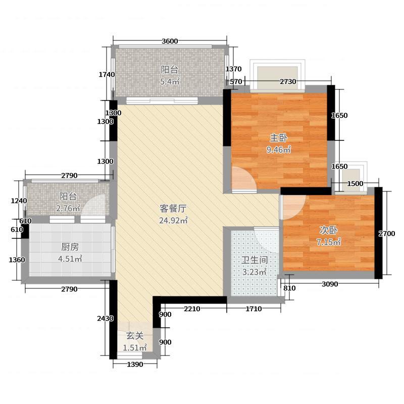 恒展・江山时代花园78.72㎡5栋05户型2室2厅1卫1厨