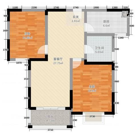 8090青年公寓2室2厅1卫1厨91.00㎡户型图