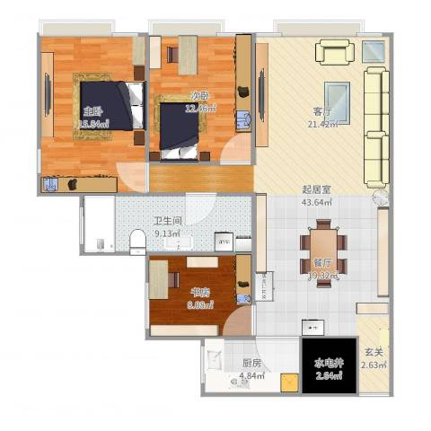 海珠半岛花园3室1厅1卫1厨121.00㎡户型图