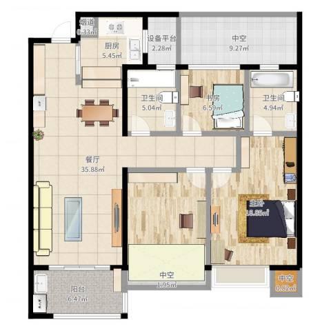 龙湖时代天街2室1厅7卫1厨135.00㎡户型图