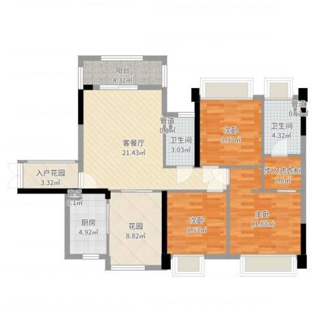 保利拉菲3室2厅2卫1厨104.00㎡户型图