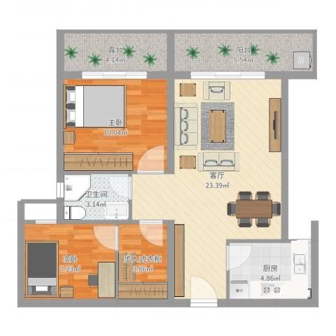 嘉仑台6栋15单元2室1厅1卫1厨62.20㎡户型图