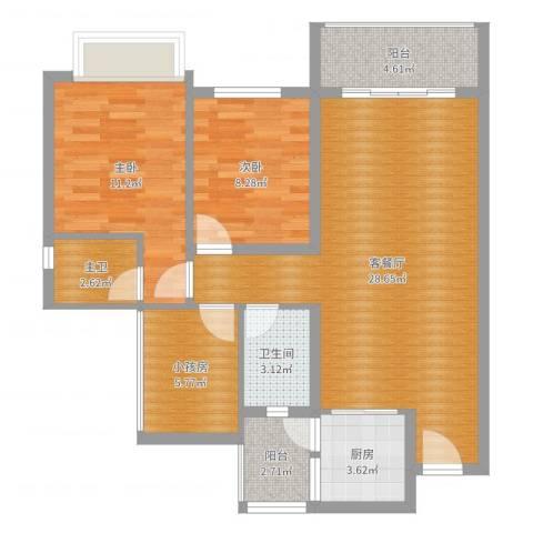 碧桂园天麓山2室2厅1卫1厨88.00㎡户型图