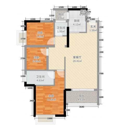 富盈公馆3室2厅2卫1厨90.00㎡户型图
