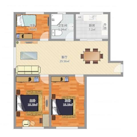 东南一村3室1厅1卫1厨100.00㎡户型图