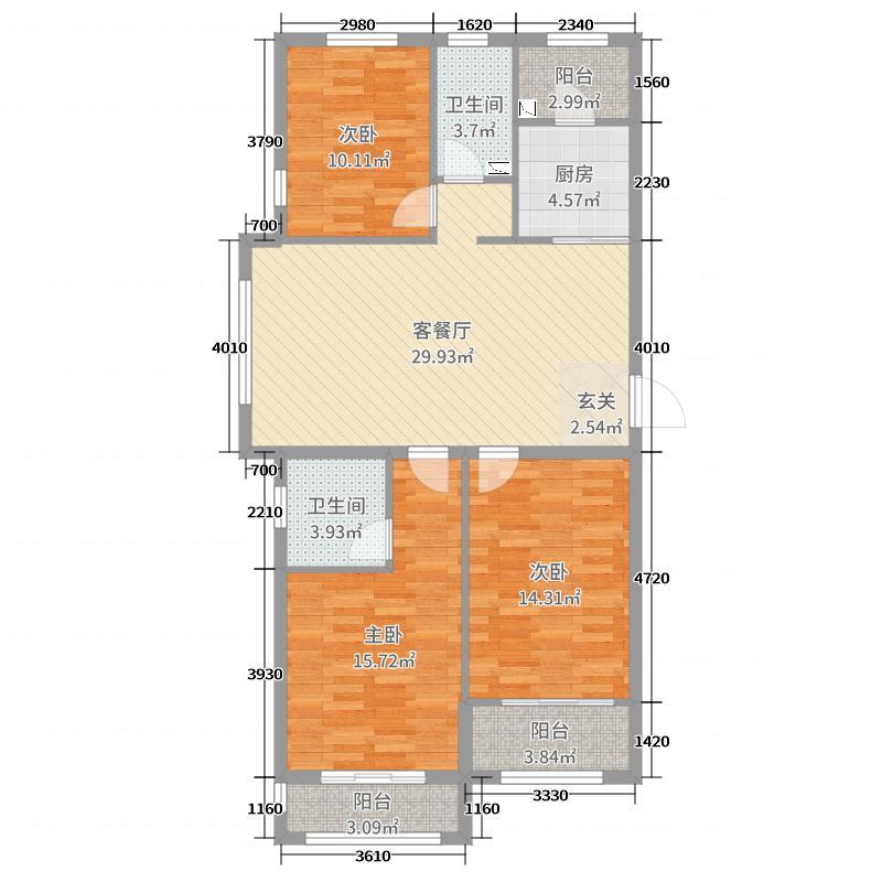 泺亨国际居住区123.00㎡精品-丙A户型3室3厅2卫1厨