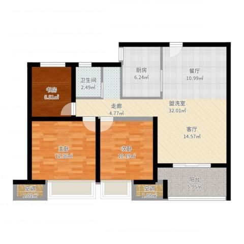 农房澜山3室2厅2卫2厨97.00㎡户型图