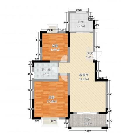 8090青年公寓2室2厅1卫1厨95.00㎡户型图