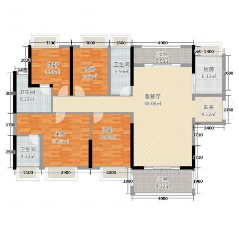 宝能太古城4室2厅3卫1厨173.00㎡户型图