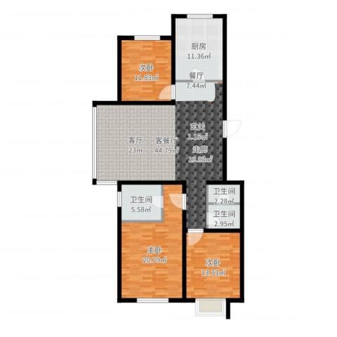 汇豪山水华府3室2厅3卫1厨142.00㎡户型图
