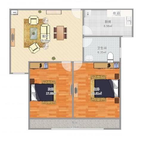 盛世御龙湾2室1厅1卫1厨107.00㎡户型图