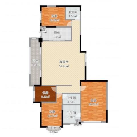 万科紫台4室2厅3卫1厨198.00㎡户型图