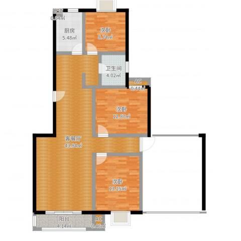 爱达花园紫藤园3室2厅1卫1厨117.00㎡户型图