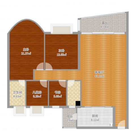 华南新城山语轩4室2厅2卫1厨121.70㎡户型图