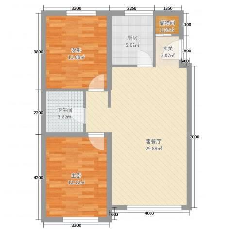 荟萃园2室2厅1卫1厨87.00㎡户型图