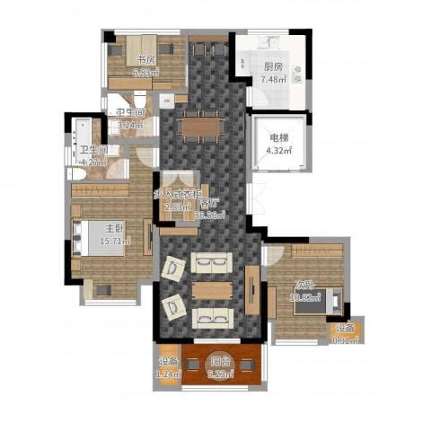 中旅狮山名门3室1厅5卫1厨124.00㎡户型图