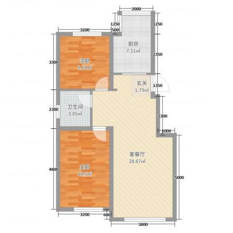荟萃园2室2厅1卫1厨84.00㎡户型图