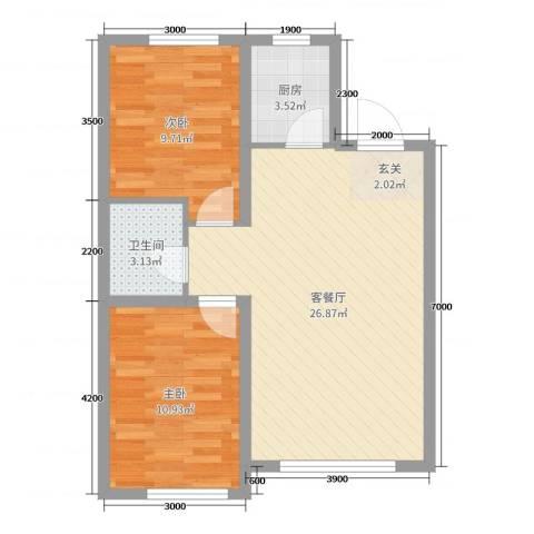 荟萃园2室2厅1卫1厨79.00㎡户型图