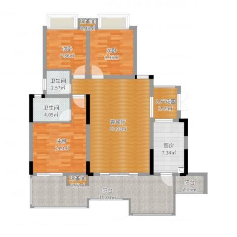 上城华府3室2厅2卫1厨124.00㎡户型图
